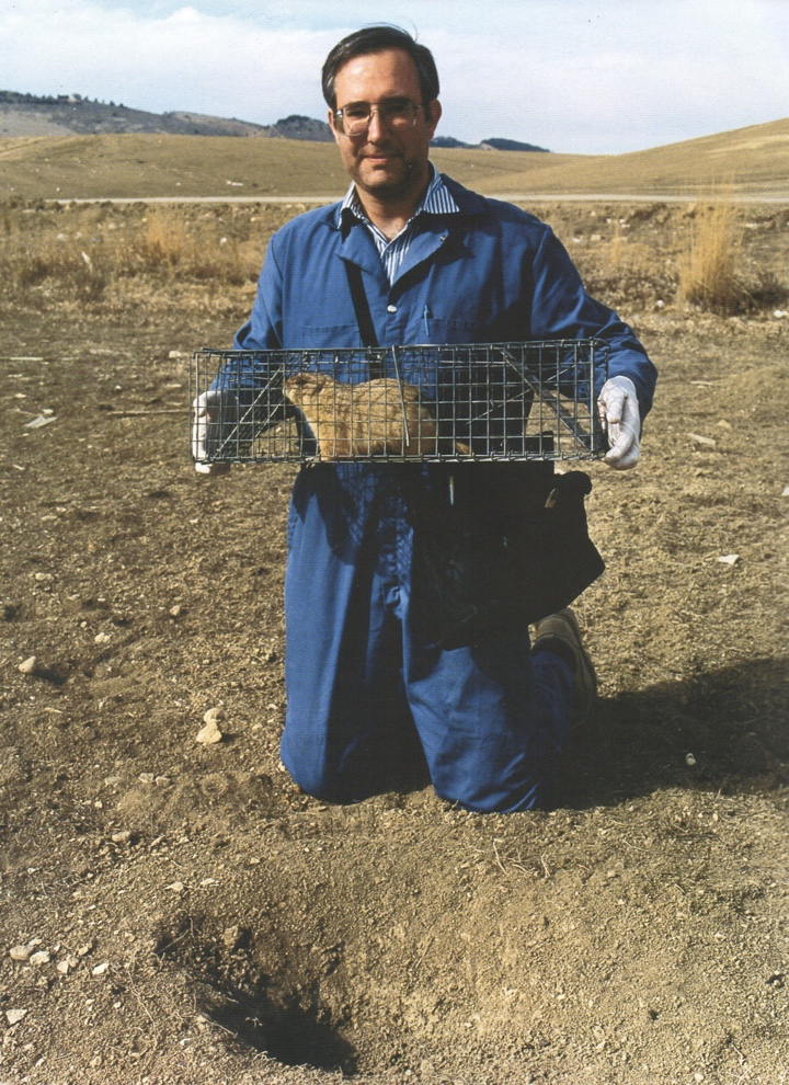 Photo of a slightly smiling man in a field, holding a caged rodent