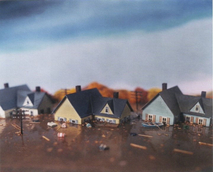 Diorama or model of a flooded suburb